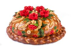 Ukrainian festive bakery Holiday Bread on white. Ukrainian festive bakery Holiday Bread isolated on a white background Stock Image