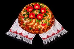 Ukrainian festive bakery Holiday Bread on white Stock Photography