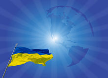 Ukrainian flag. With sky in the background stock photography