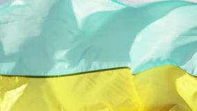 Ukrainian flag. On background of blue sky Ukrainian flag stock video