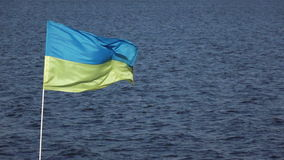 Ukrainian flag. On background of blue sky Ukrainian flag stock video footage