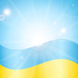 Ukrainian flag. On a background of sky and sun Stock Images