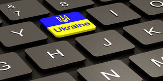 Ukrainian flag on button Royalty Free Stock Image
