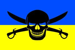 Pirate flag combined with Ukrainian flag Royalty Free Stock Photography