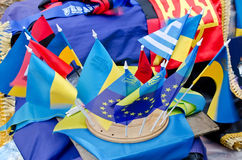 Ukrainian flag and European Union flags Royalty Free Stock Photos