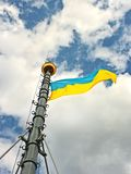 Ukrainian Flag on the flagstaff Stock Images