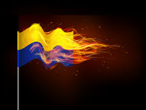 Ukrainian flag in flames. Stock Images
