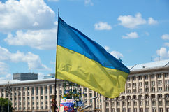 Ukrainian flag flying Stock Photography