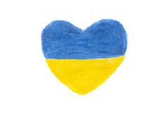 Ukrainian flag in heart shape Royalty Free Stock Photography