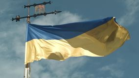 UKRAINIAN FLAG ON THE OLD TOWER OF LVOV stock video