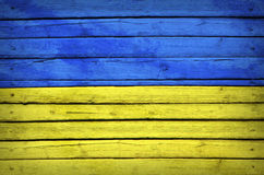 Ukrainian flag painted on wooden boards Royalty Free Stock Photography