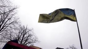 Ukrainian flag. Riddled Ukrainian flag on the front lines. War in Ukraine. Checkpoint. The front line stock video