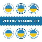 Ukrainian flag rubber stamps set. National flags grunge stamps. Country round badges collection Royalty Free Stock Images