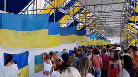 Ukrainian flag show during Independence Day in Kiev, Ukraine,. KIEV, UKRAINE - AUG 24: Ukrainian flag show during Independence Day in Kiev, Ukraine on August 24 stock video
