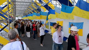 Ukrainian flag show during Independence Day in Kiev, Ukraine, stock video