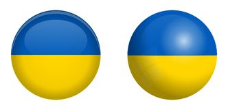 Ukrainian flag under 3d dome button and on glossy sphere / ball.  stock illustration