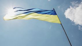 Ukrainian flag. An video of Ukrainian flag stock video footage