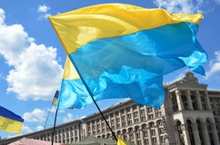 Ukrainian flags flying Royalty Free Stock Photography