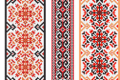 Ukrainian folk art. Set of traditional embroidery patterns. Abstract  texture Royalty Free Stock Photography