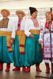 Ukrainian folk choir performing at a stage stock image