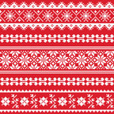 Ukrainian folk emboidery white pattern on red background Royalty Free Stock Photos