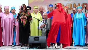 Ukrainian folk song. Women in multicoloured costume sing ukrainian song stock footage