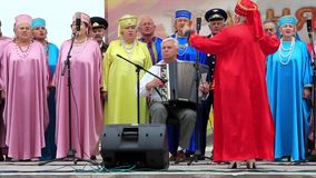 Ukrainian folk song. Women in multicoloured costume sing ukrainian song stock video footage