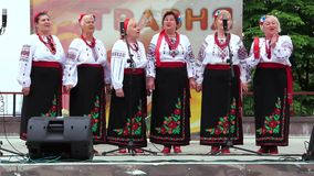 Ukrainian folk song. Women in ukrainian traditional costume sing ukrainian song stock video footage