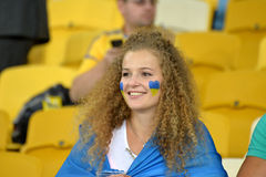 Ukrainian football girl fan Royalty Free Stock Images