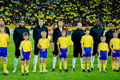 Ukrainian football team with the children Royalty Free Stock Photo