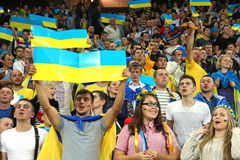 Ukrainian football team supporters stock photography