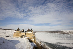 Ukrainian fortress Hotyn. Winter view of the Ukrainian fortress Hotyn Stock Photos