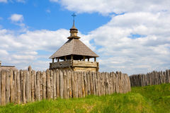 Ukrainian fortress and wooden church Royalty Free Stock Photography