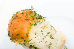 Ukrainian garlic bread with fresh dill. Macro. Isolated on a white background Stock Photo