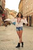 Ukrainian gilr portrait on street in Lviv Stock Photos
