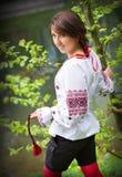 Ukrainian girl. Near tree and lake Stock Photos