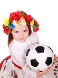 Ukrainian girl with ball Royalty Free Stock Photo