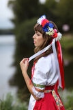 Ukrainian girl on the banks of the river Royalty Free Stock Images
