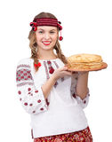 Ukrainian girl with crepes Stock Images