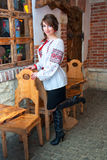Ukrainian girl, dressed in vyshyvanka, in the pub Stock Photos