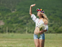Ukrainian girl in field Stock Photos