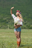 Ukrainian girl in field Stock Images