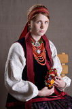 Ukrainian girl in the folk costume Royalty Free Stock Photography