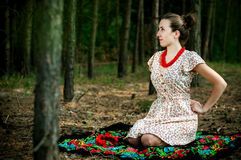 Ukrainian girl in the forest Royalty Free Stock Images