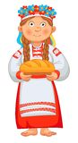 Ukrainian girl meets honored guests with bread. And salt. Young Woman in Ukrainian Clothes Holding loaf. Vector illustration. Isolated on white background royalty free illustration