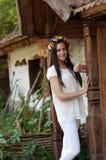 Ukrainian girl in national clothes. Ukrainian beautiful girl in national clothes Royalty Free Stock Images