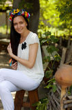 Ukrainian girl in national clothes. Ukrainian beautiful girl in national clothes Royalty Free Stock Photography