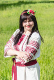 Ukrainian girl in national clothes. Photos in the park Stock Photo