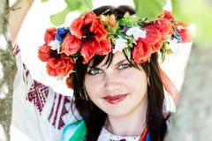 Ukrainian girl in national clothes. Photos in the park Stock Photos