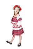 Ukrainian girl in national costume. Portrait of joyful young Ukrainian girl in national costume. Isolated on white background Royalty Free Stock Photography